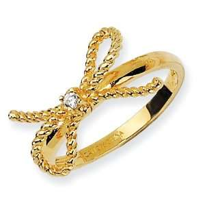 Gold plated Sterling Silver Fancy Bow CZ Ring Size 8 Jewelry