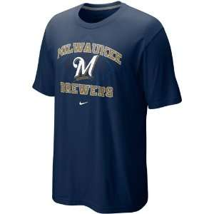 Nike Milwaukee Brewers Navy Blue Team Arch T shirt (X Large)