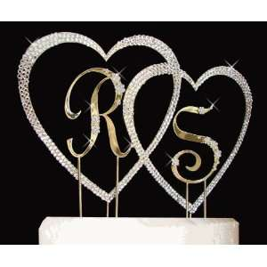 Covered Double Heart with Two Initials Cake Topper