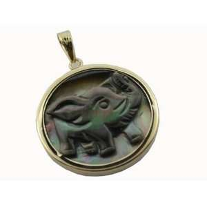 Mother Of Pearl Round Elephant Salute Cameo Pendant, 14k Gold Jewelry