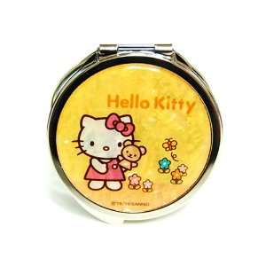 Mother of Pearl Yellow Hello Kitty Teddy Bear Design Double Compact