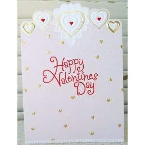 Carol Wilson Valentines Day Card Gold Hearts   Glitter