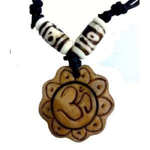 Yak Bone Necklace Tibetan Carved Om on Lotus Tan Health