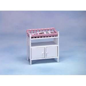 Dollhouse Miniature White/Pink Changing Table