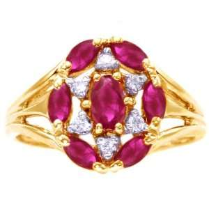 Gold Flower Cluster Right Hand Ring Ruby, size7.5 diViene Jewelry