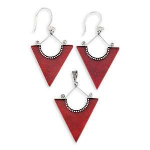 .925 Sterling Silver Solid Red Coral Earrings Pendant Jewelry