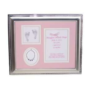 Personalized Sterling Silver Baby Girl Picture Frame  Pink