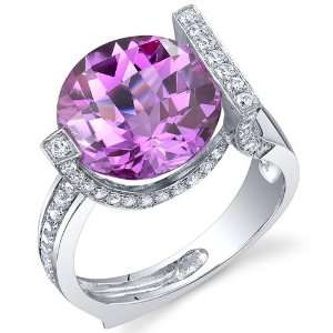 Artistic 7.00 Carats Checkerboard Round Cut Pink Sapphire Ring