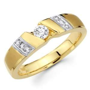 14K Yellow and White 2 Two Tone Gold Round cut Diamond Men