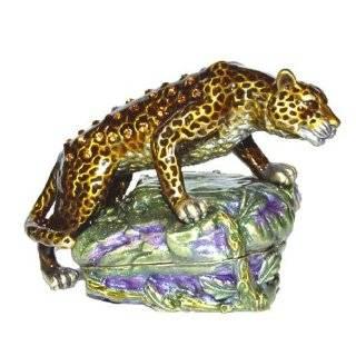 Cheetah or Leopard Figurine Box Swarovski Crystals Sitting