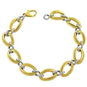 Elegant 14 Karat Yellow White Gold Braided Oval Links Bracelet 7.5