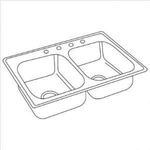 Top Mount Stainless Steel Double Sink (Set of 3) Configuration Three