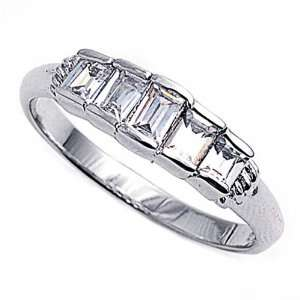 Ring Emerald Cut Clear CZ 5 Stones Ring MM ( Size 5 to 10) Size 5