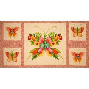 Mary Engelbreit Flutterby Panel Floral Butterfly Cream/Pink Fabric