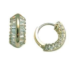Angled Facet CZ 14K Yellow Gold Huggie Earrings Jewelry
