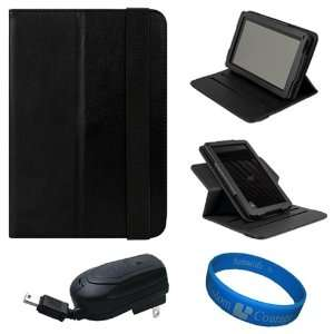 SumacLife Black Textured Leather Folio Case Cover with