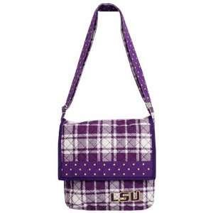 LSU Tigers Purple Plaid Messenger Bag