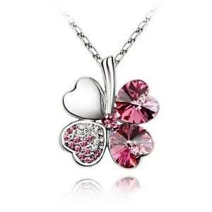 Lucky Crystal Four Leaf Clover Charm Necklace 19 Arts