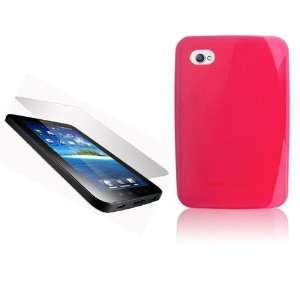 GALAXY TAB PINK TPU TRANSPARENT CASE COVER AND SCREEN PROTECTOR