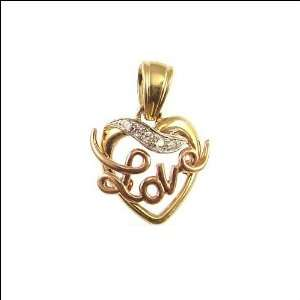 and Rose Gold, Love Heart Pendant Charm Lab Created Gems 18mm Wide