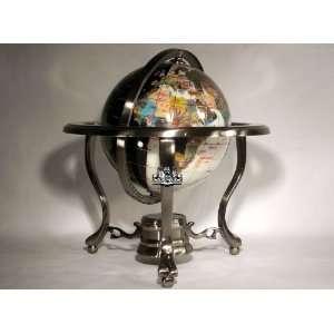 Ocean Table Top Gemstone World Globe with Gold Tripod