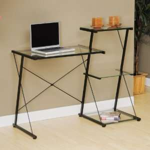 Sauder Beginnings Tiered Desk in Black,Clear Glass