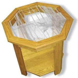 Solid Oak End Table with Etched Glass Duck Hunting Art Octagon