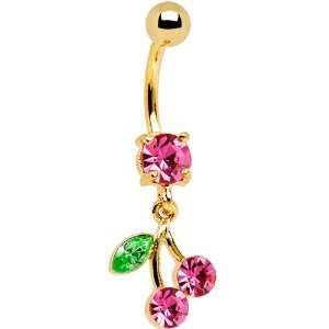 24kt Gold Plated Pink Cubic Zirconia Cherry Belly Ring Jewelry