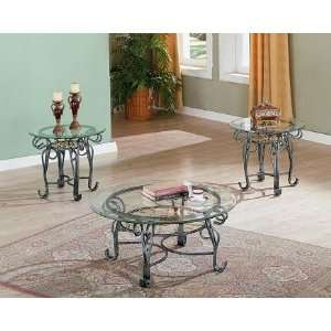 3pcs Antique Silver & Gold Finish Metal Coffee & End Tables Set