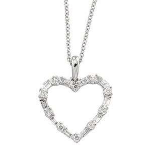 14K White Gold Diamond Fashion Heart Necklace