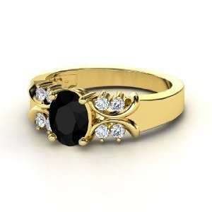 Gabrielle Ring, Oval Black Onyx 14K Yellow Gold Ring with