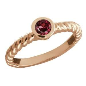0.37 Ct Round Red Rhodolite Garnet 14k Rose Gold Ring Jewelry