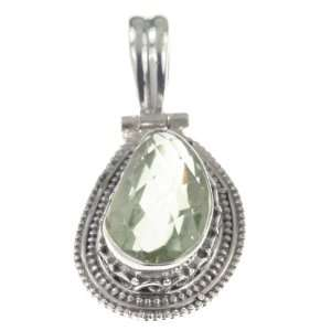Sterling Silver NATURAL GREEN AMETHYST Pendant, 1.25, 6.35g Jewelry