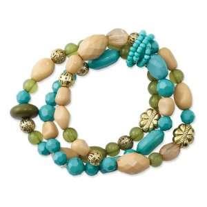 Gold tone Blue/Green/Beige Stretch Bracelet Jewelry