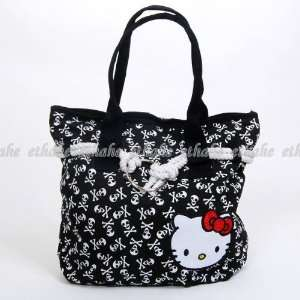 Hello Kitty Skull Rope Shopping Tote Handbag Black