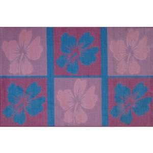 Hibiscus Flower Calm Area Rug Pink & Blue 39x58