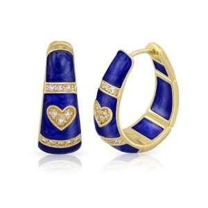18K Gold Plated Pave Love Huggie Hoop CZ Navy Blue Enamel Earrings