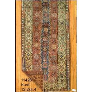 4x12 Hand Knotted Kurd Kurdistan Rug   44x122: Home & Kitchen