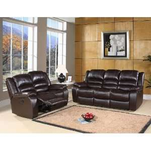 Reclining Dark Brown Leather Sofa & Loveseat Set