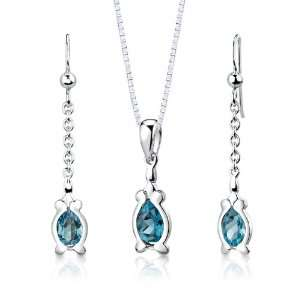 Pear Shape London Blue Topaz Pendant Earrings and 18 inch Necklace Set
