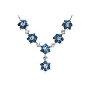 London Blue Topaz & White CZ Gemstone Necklace in Sterling Silver