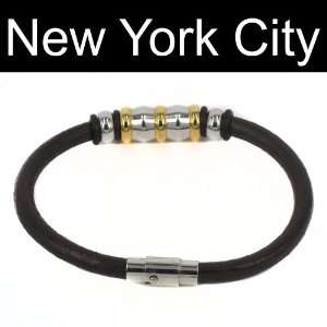 Leather Bracelet Wristband Cuff Stainless Steel Magnetic Lock B0070BRN