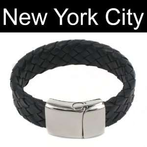 Leather Bracelet Wristband Cuff Stainless Steel Magnetic Lock B0065BLK