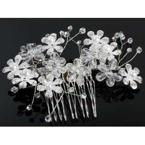 com Silver Embossed Flowers with Crystals & Pearls Accents Hair Comb