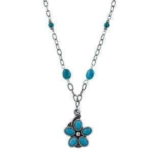 Southwest Moon Sterling Silver Turquoise Flower Necklace Jewelry