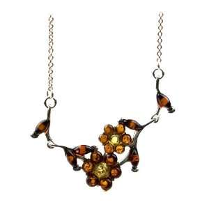 Sterling Silver Multi color Amber Flower Necklace Jewelry