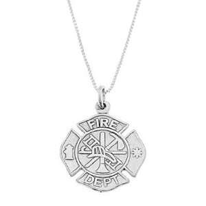 Silver One Sided Fire Department Maltese Cross Necklace Jewelry