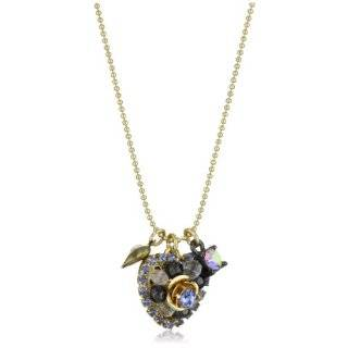 Betsey Johnson Gold Crystal Heart Pendant Necklace Jewelry