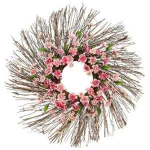 24 Silk Plum Blossom Flower Hanging Wreath  2 Tone Pink