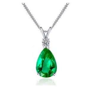 2.90Ct Pear Cut Emerald & VS Diamond Pendant 18k Gold Jewelry